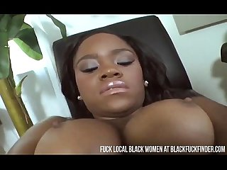 Horny ebony woman rubs her pussy until she cums