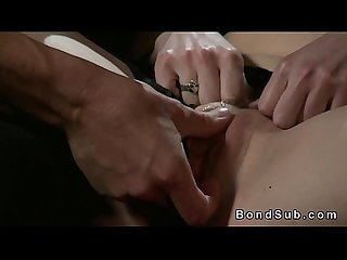 Hairy pussy slave gets pussy banged in dungeon