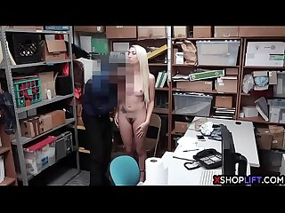 Blonde Teen thief busted and fucked by A security guard