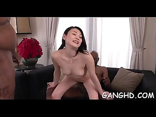 Oriental playgirl tames hard male rods