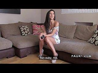 Slim spanish hottie banged in uk casting