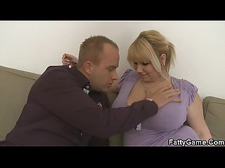 He picks up fat blonde and bangs her hard