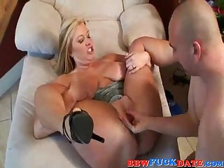Chubby blonde bbw bouncing and moaning