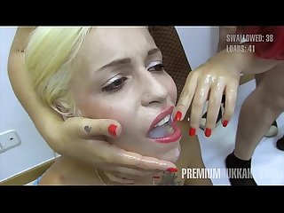 Premium bukkake spanish model silvana swallows 49 huge mouthful cumshots