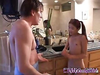 Older man fucks cute asian babysitter