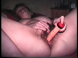 My hairy wife carole loves deep dildo penetration