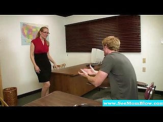 Mature teacher in spex sucking student after glasses