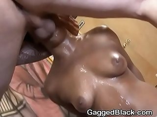 Pounding White Dick Down Black Girls Throat Roughly On Floor