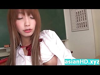 Teen japanese babe inserts a flute in her hd