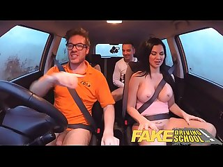 Fake driving school exam failure ends in Threesome double creampie