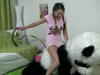 Teddy bear girl with pigtails fucked