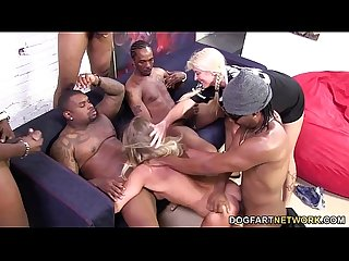 Britney young enjoys her first interracial gangbang