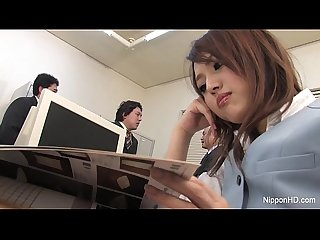 Japanese babe gets fucked in the office