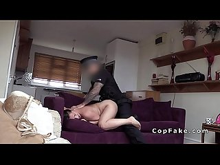 Nasty babe deep throats cops dick in her flat