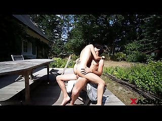French dick fucking a young Korean pussy on the outdoor table xasiat com