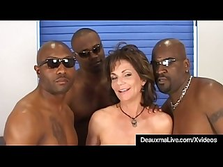 Busty mature cougar deauxma fucked in ass by 3 black cocks