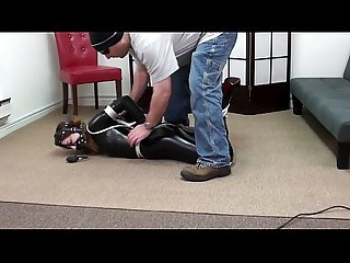 Pretty brunette tied Forced latex gagged with boots bondage bdsm