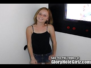 Red head shorty ravaged in a glory hole