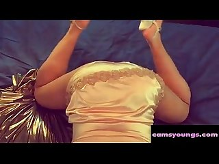 Booty in gold satin lingerie and panties porn 0d