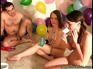 Teen babes gets licked out at party