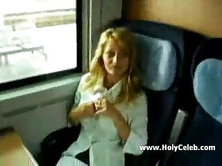 Big titted milf fucks in train