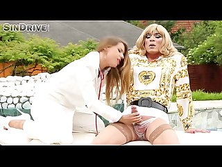 Nikky Thorne - crossdresser's cock play exam leads to TV hetero hardcore