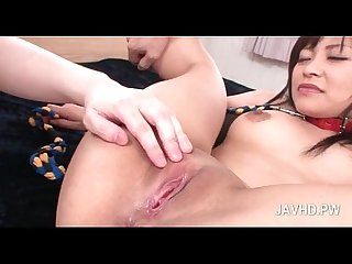 Lusty asian nymph gets ass teased with beads in close up