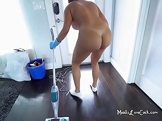 Sexy Maid julianna vega goes nude when cleaning
