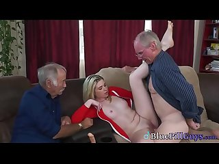 Old Men Use Dildo On Cute Young College Teen & Fuck Her Fresh Pussy