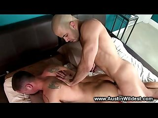 Hot muscle sucks cock and fucks ass with lucky guy
