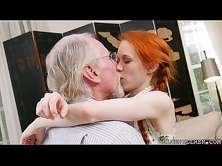Pigtailed Redhead Teen Fucked by 75 Year Old