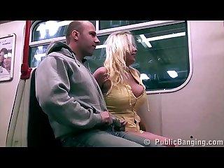 Extreme public subway Sex Threesome with big tits star stella fox and 2 big guys