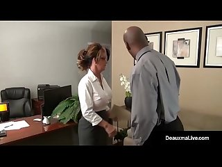 Milf boss Deauxma can t fire her best worker s black cock