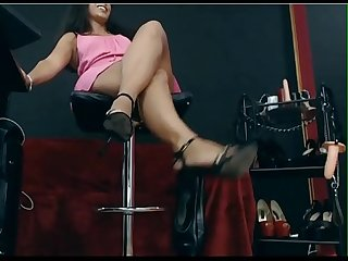 sexy black heels girl showing off kicking