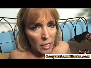 Sexy interracial cougar gets a cumshot