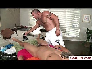 Stud getting oiled up and fucked and sucked by gotrub