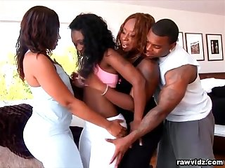Hot ebony foursome