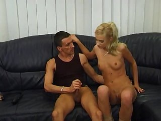 Blond with small tits fucked hard