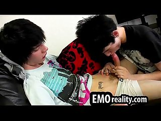 Teen emo twink sucking cock like a pro before anal