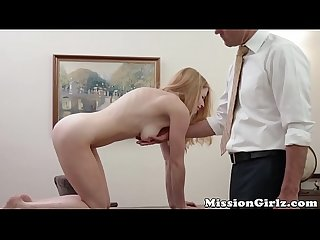 Good looking Mormon babe gives her innocence to old pastor