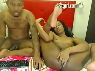 Ebony Transexual woman and boyfriend couple cam show