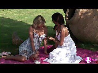 Viv Thomas lesbian hd blonde and brunette babes having sex at the garden