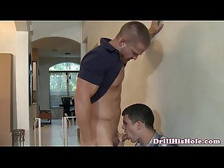 Muscular bottom stud drenched in cum