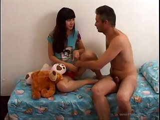 Father fucks tiny teen step daughter