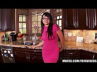 Little asian wife plays in the kitchen