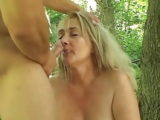 Mature well padded blonde sharone lane seduced young guy in the forrest
