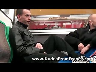 Foot fetish gay blowjob for french dudes on public train1