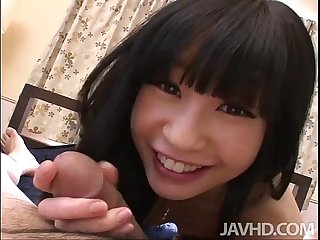 Innocent teen mizutama remon sucks a cock then rides it cowgirl style