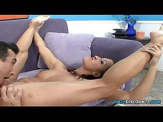 Flexible barefeet nympho goes wild on cock