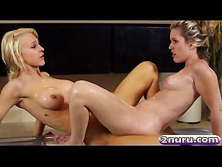 Sasha heart and alix lynx satisfying their pussies after a hot nuru
